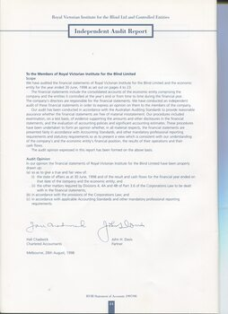 Auditors Report to the Contributors