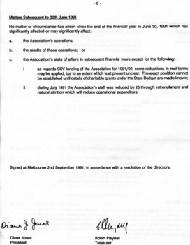 Director's report including names of directors and review of operations