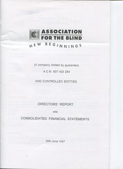 Front page of black writing on white background with AFB logo at top