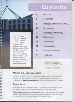 Contents page and the various formats this report can be provided in