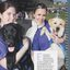 Elin McPadden and Kylie Morris, who are Seeing Eye dog puppy carers, with Ember and Tawny