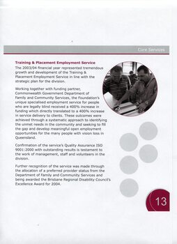 Overview and achievements of Training and Placement Employment Service and picture of man using a machine whilst another watches
