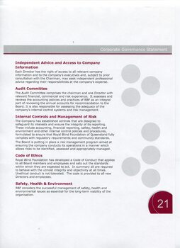 Corporate governance information including audit committee, risk controls and code of ethics