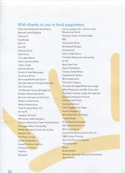 Acknowledgement of organisations who have provided in kind support
