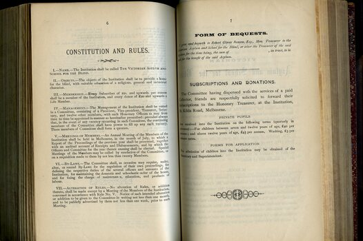 Constitution and Rules, Form of Bequest, Subscriptions and Donations, Private Pupils, Forms of Application