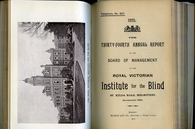 Photograph of St Kilda Road Building and front page of annual report for the RVIB