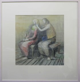 Printmaking - Lithograph (Repro), Moore, Henry*, 'Seated Figures' by Henry Moore, 1962