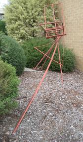 A red steel sculpture