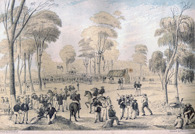 Print - Printmaking - Lithograph, Tulloch, David, 'Great Meeting of Gold Diggers Dec 15th 1851' by Thomas Ham, 1852