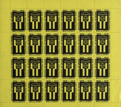 yellow and black stamp to celebrate the centenary of the Ballarat School of Mines