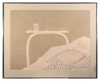 Gouache Painting, Hospital Suite, Needle in Stomach, 1977