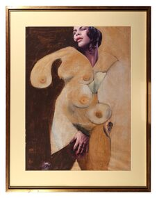 Mixed Media Drawing, Collage Nude, 1977