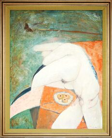 Mixed Media Painting, Male and Female Nudes Entwined with Tarts on a Plate, 1974