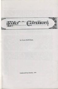 Book, Early Canterbury, 1994