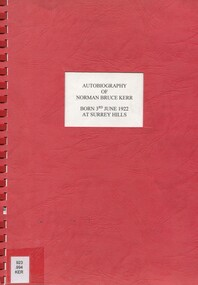 Book, Autobiography of Norman Bruce Kerr