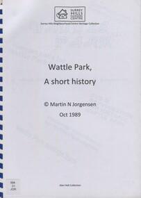 Book, Wattle Park: a short history, Oct-89