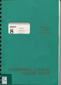 Book, City of Camberwell Community Information Services: Paper 8, 1982