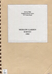 Book, Medlow Garden Survey and Landscape capability study 1983, Oct-83