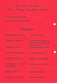 Card giving program of musical pieces