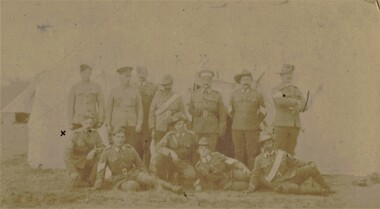 Faded photograph of group of soldiers