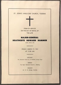 Single sheet with program for funeral