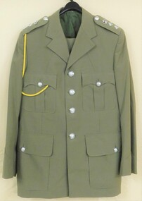 Khaki jacket with silver buttons.