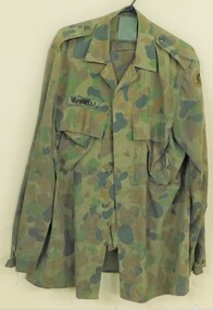 Army jacket with crazy coloured pattern