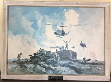 Tanks and helicopters in rough open field