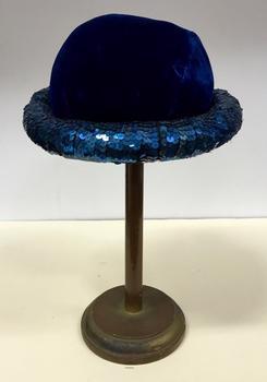Blue Velvet Sequinned Bowler Hat