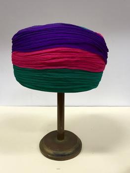 Multicoloured Silk Crepe Turban