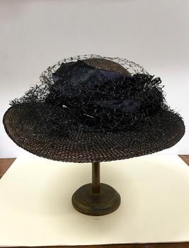 Black Straw & Fabric Hat