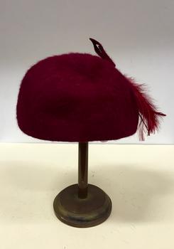 Red Velvet, Feather & Net Hat