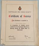 Certificate - Australian Red Cross: Certificate of Service 1939-45