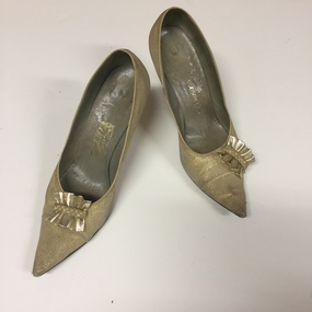 Pair of Women's Gold Leather Shoes