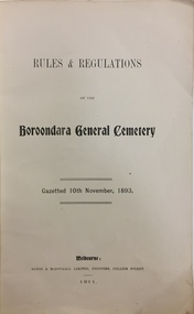 Rules and Regulations of the Boroondara General Cemetery
