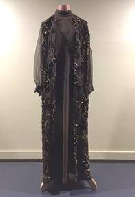 Brown & Gold Acetate Evening Dress, 1980