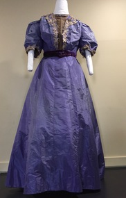Purple Silk with Guipure Lace Ball Gown, c.1900