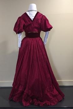 Cerise Silk & Velvet Ball Gown, 1900s