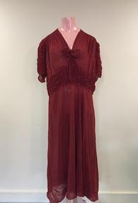 Rust-coloured Crepe Evening Dress, 1930s