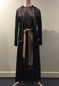 Long Brown Dress with Braids and Matching Jacket