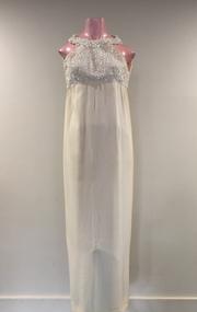 White Crepe Beaded Evening Dress, 1960s
