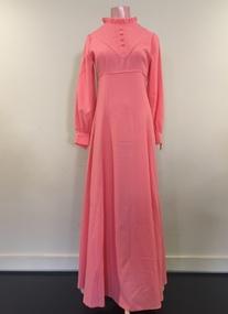 Full-length Pink Crepe Bridesmaid's Dress