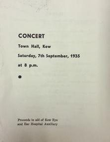 Programme - Concert Program, Concert, Town Hall, Kew, 1935