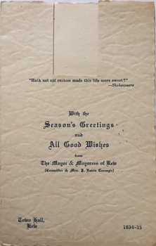 Seasons Greeting, City of Kew, 1934-35
