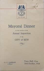 Mayoral Dinner, Town Hall, Kew, 1938