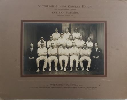 Victorian Junior Cricket Union, Eastern Suburbs Premiers Season 1931