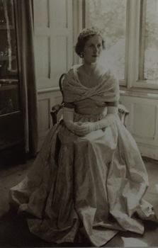 Studio portrait of ^^ wearing her dress and tiara to the Coronation of Elizabeth II