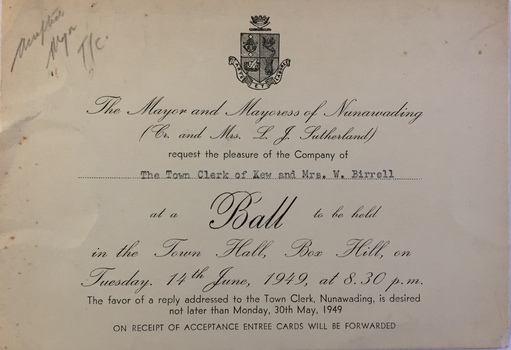 Invitation from the City of Nunawading to a Ball at the Box Hill Town Hall