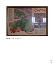 Memorabilia - Print  Title  Print  Other Identifiers No identifiers Media No Attached Media Description Physical Description  Framed print from 'The Australian' giving information around the Kokoda Trail, Kokoda Track Information Print