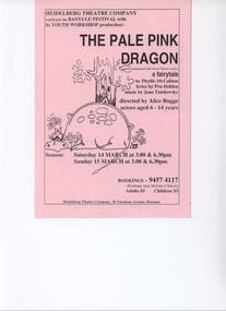 Program Photos Poster Youth, The Pale Pink Dragon by Phyllis McCallum lyrics by Pru Holden music by Jean Tandowsky by special arrangement with Gravin Theatre Agency directed By Alice Bugge